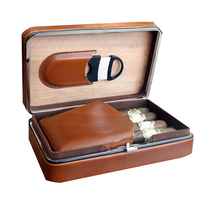 Custom Executive Brown Leather Cigar Case With Cutter