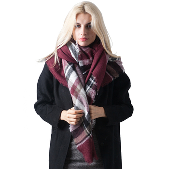 Winter warm tartan square shawl large size cashmere plaid blanket scarf