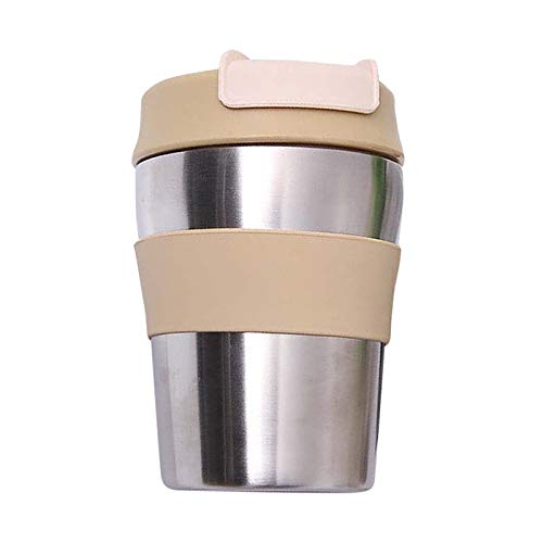 10 oz Leak-Proof Insulated Coffee Mug Stainless Steel Milk Thermos For Coffee With Silicone Lid