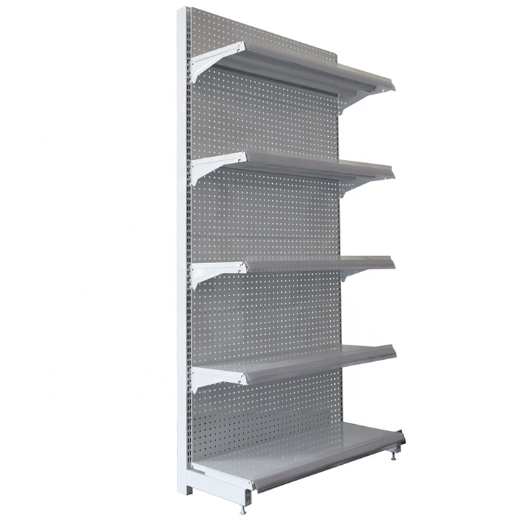 <strong>Retail</strong> store rack Supermarket shelf Gondola shelving with pegboard back panel