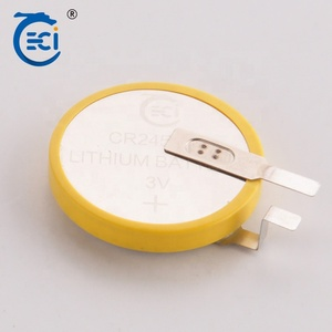 3V 600mAh lithium battery of CR2450 button cell with solder tab