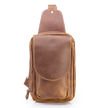 Mens Genuine Leather Crossbody Chest Bag Hiking Sling Daypack