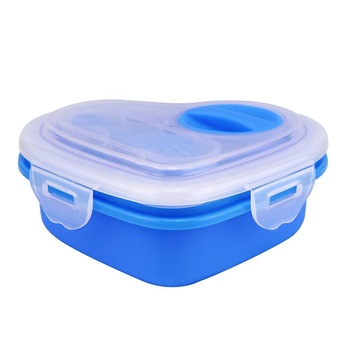 Silicone Folding Lunch Box Heart Shape Collapsible Lunch Box
