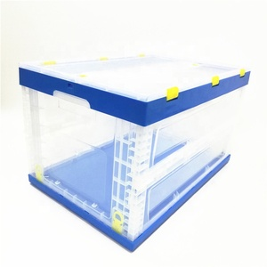 Eco-friendly home use plastic storage boxes & bins transparent with lid plastic folding box storage foldable container