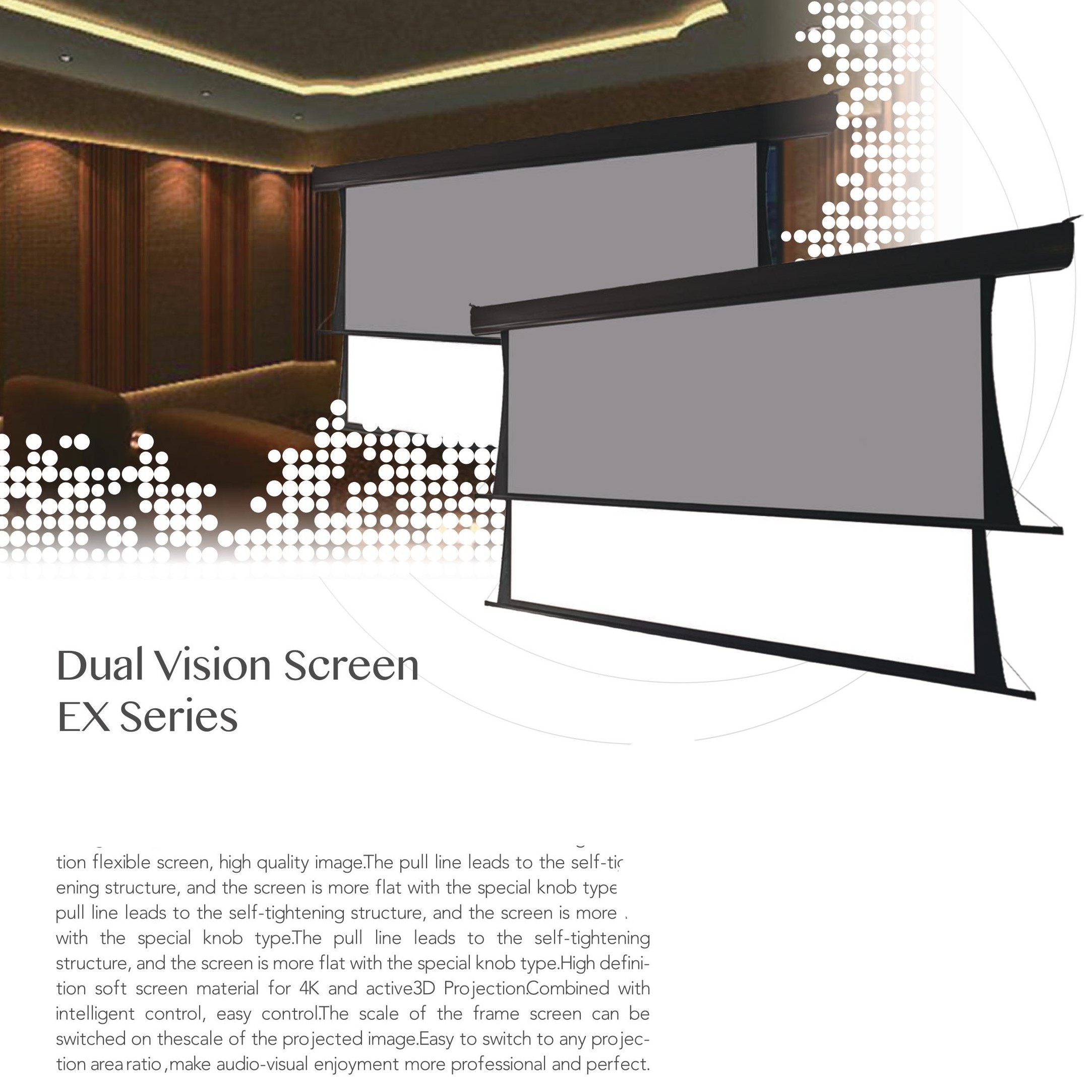 Well-Designed Pvc Matt White Rear Projection Dual Vision Electric Screen Fabric
