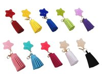 Multicolor Star Faux Suede Tassel Pendants with Gold Lobster Clasp for Keychain CL1449