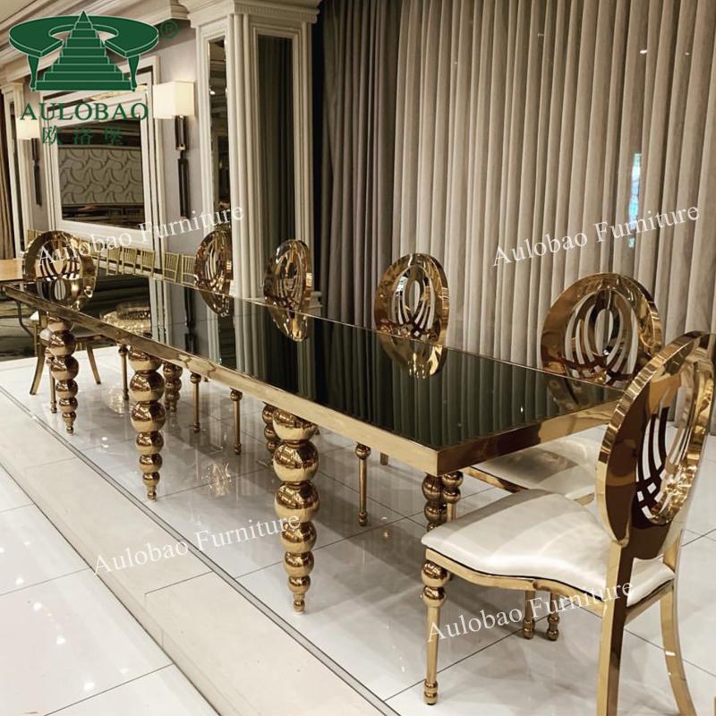 Design commerciale 12 posti base dorata superiore di vetro di lusso tavolo da pranzo set