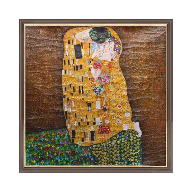 The Kiss by Gustav Klimt Antique style Craquelure oil painting