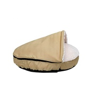 YangyangPet Soft Pet Accessories Washable Hooded Long Rich Durable Oxford To Sherpa Pet Cave And Round Pet Bed