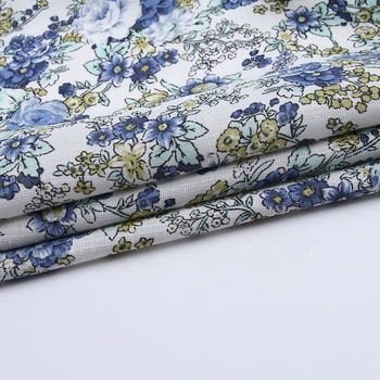 wholesale custom blue flower design garment 100 % polyester printed dress fabric