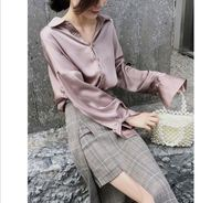 Wholesale blouse with long sleeves loose satin chiffon blouse Korean women top