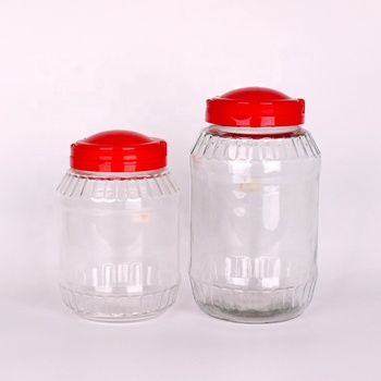 glass storage bottle big food jar for plum wine with plastic lids