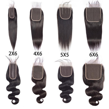 Preplucked Human Hair Lace Closure 2x6 4x6 Lace Closure 5x5 6x6 7x7 All Size Lace Closure Straight Body With Baby Hair