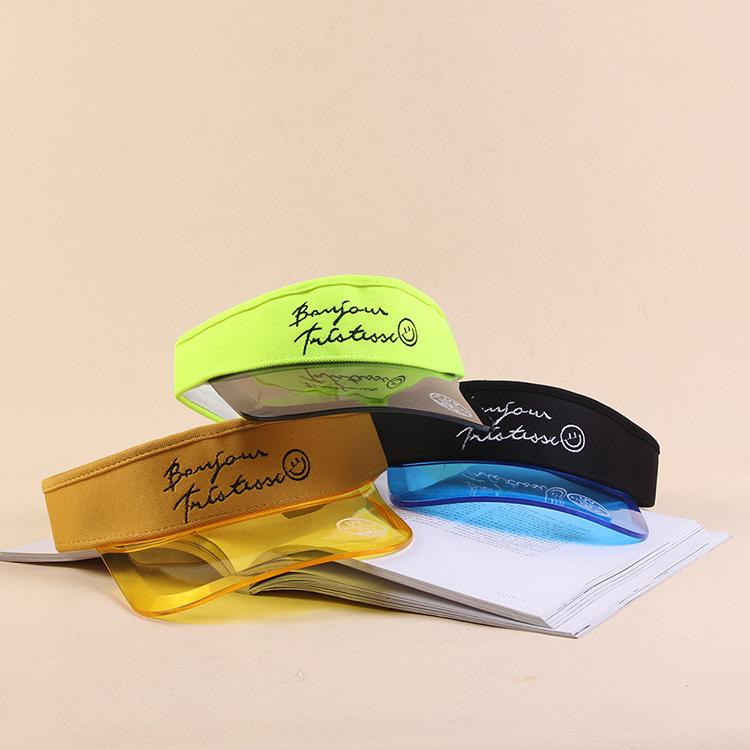 מותאם אישית שקוף פלסטיק pvc ברים שמש הגנת uv מגן כובע כובע סיטונאי
