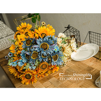 Shininglife Brand cheap silk flower heads artificial flower arrangements sunflower