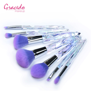 Professional Cosmetic Brush Kit 7pcs Plastic Handle Crystal Full Makeup Brush Set