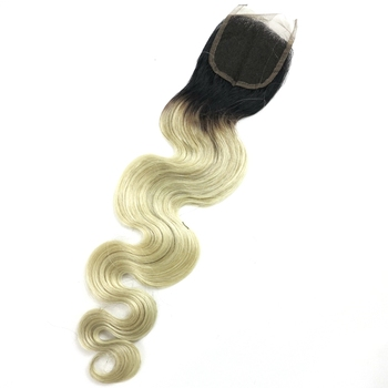 Free parting middle part three part ombre grey hair top closure with 100% human hair