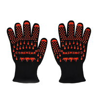Cut Resistance Work Gloves Food Grade Heat-Resistant Oven Mitts Aramid Cotton Silicone Non Slip Heat Protective Cooking Gloves