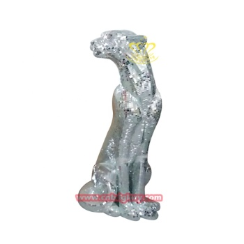 Hot sale indoor ornaments fiberglass Mosaic leopard statue
