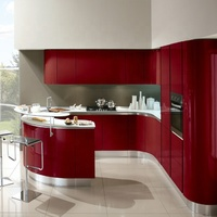 HOT SALE 2019 New Model Bespoke Custom Red Lacquer Kitchen Cabinet Design with Curved Island