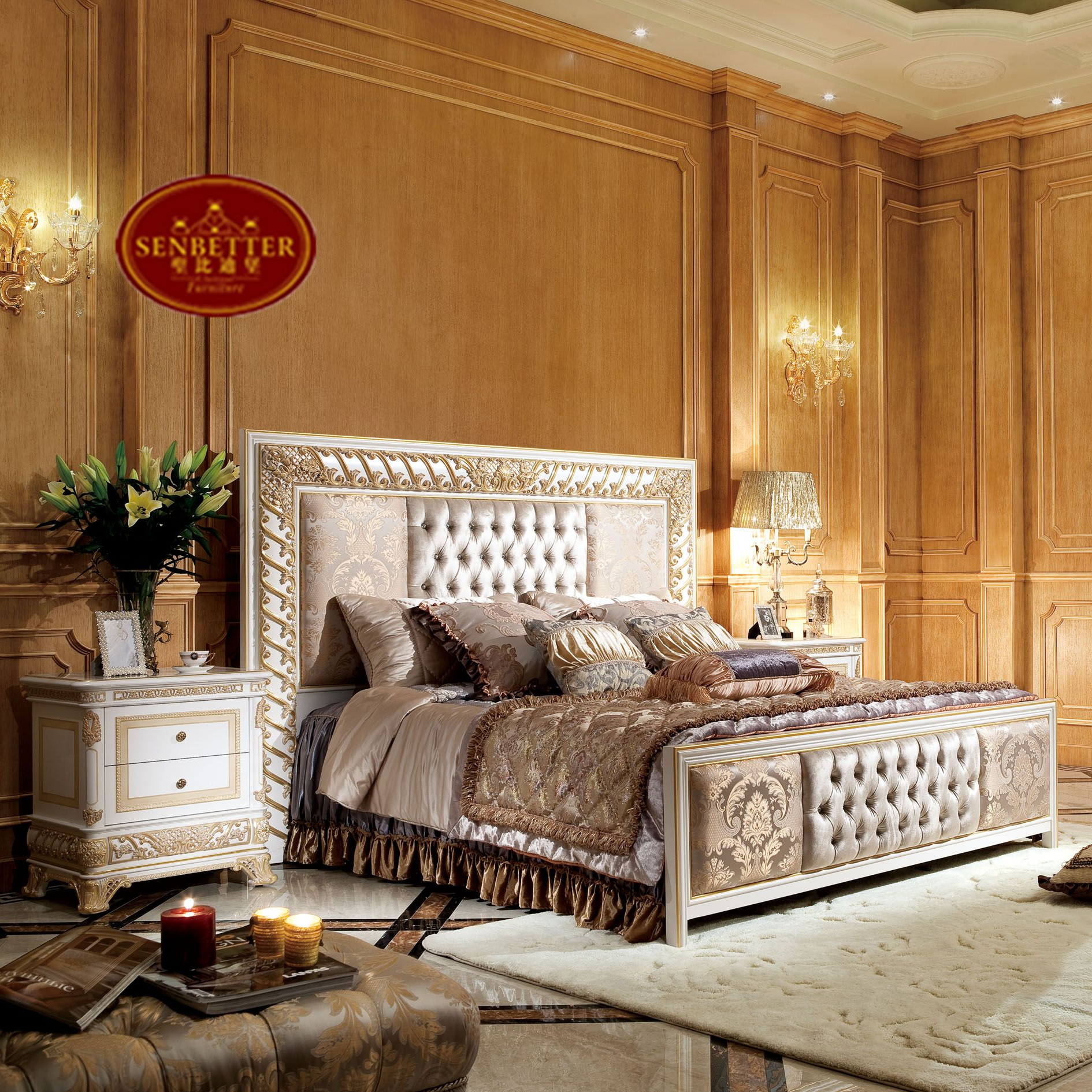 0062w 2 White Gold Decor Bedroom Sets