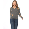 European and American style high-end women's wear pure cashmere star pattern hanging wool bottom V-neck sweater