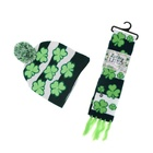 Hot sale new design novelty sweater holiday led scarf light up beanie hat set