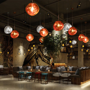 Modern hanging colored glass ball pendant lamp designer Lava acrylic indoor living room lights ETL86158