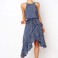 Summer sexy women Irregular Printed Fashion Casual One Piece Halter Neck Polka Dot Knee Dress