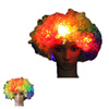 Carnival Wigs Colorful Wigs Clown hair NEW Light Up Flashing LED Rainbow Hot Football Fans Wig