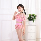 Girl Floral Swimsuit Child Two-piece Sling Swimwear lovely baby pink bikini Wholesale