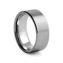 8mm Brushed tungsten carbide engagement wedding band ring