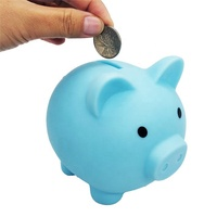 Silicone cute pig piggy bank/Customized creative cartoon pig shape money saving box/pvc coin bank cartoon ornaments