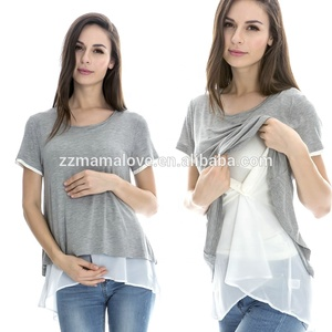 MamaLove Korean Fashion Maternity Tops Summer Feeding Clothing nursing Clothes Maternity Clothes for pregnant women