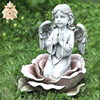 High quality outdoor decorative hand carved stone angel sculpture white marble cherub statue for Sale NTBS-T005