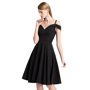 2018 New Design Women Black Sexy Deep V-neck Sling Casual Party Sleeveless Dress