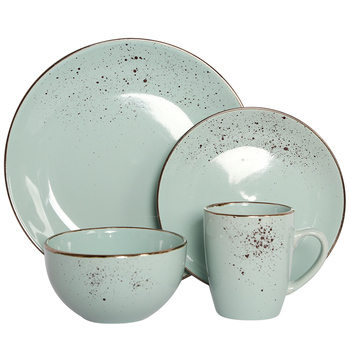 Ceramic 16pcs round shape dinner sets with gold rim and little Spray point