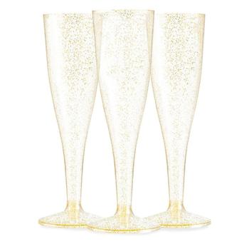 4.5 OZ Gold Glitter Disposable Plastic Champagne Flutes Champagne Glass