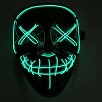 DC-3V Sound Active 10 Colors LED Neon Rope Tube Fashion Classic Halloween masquerade mask full face EL wire V for VENDETTA mask