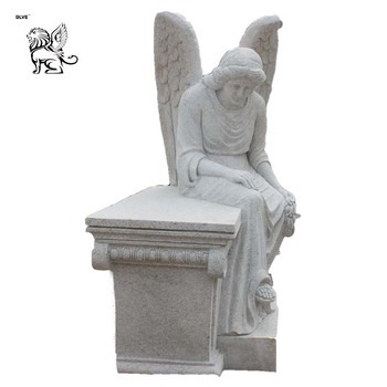 chinese factory hand carved granite marble tombstone grief angels statue sculptures tombstone and monument MTG-002