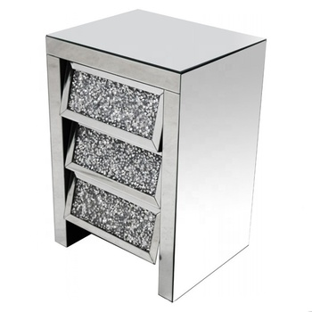 Diamond Crush Gl Bed Sofa Side Table Mirrored Nightstands With 3 Drawers Bedside Nightstand Product On