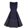Polka Dot Print 50s Spaghetti Strap Bodycon Dress Summer Women Sleeveless Belt Pocket Casual Party Pin up Robe Vintage Dresses
