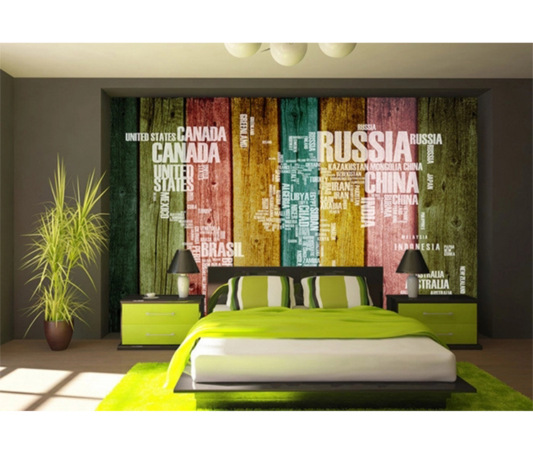 Nostalgic Colorful Wooden Walls Wallpapers Tv Background 3d World Map  Vintage Wall Paper - Buy 3d World Map Vintage Wall Paper,3d Letter Design  ...