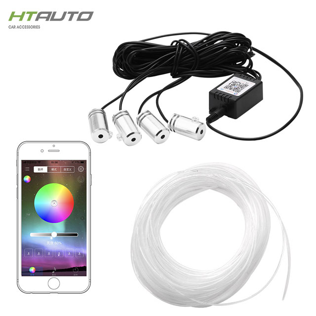 HTAUTO 12 V APP LED Streifen Automotive Interior Umgebungs RGB Band Licht