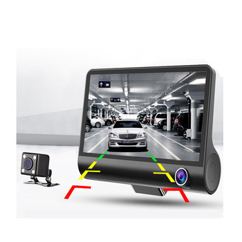 Car Dvr Dash Cam 4.0 Inch Video Recorder Auto Camera 3 Camera Lens With Rear View Camera