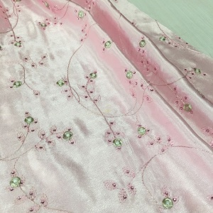 high quality embroidery clothing fabric with pearls and stones bridal satin lace fabric embroidery
