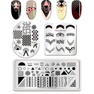 BORN PRETTY 17 Different Geometry Styles Stamping Plate Nail Art Stamp Template Image
