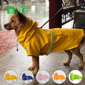 Factory Price Medium To Large Dogs Reflective Dog Waterproof Rain Coat Jacket