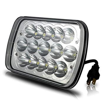 universal super bright led headlights 7x6 45W led headlamp Hi/Low sealed beam rectangle replacement for Jeep wrangler