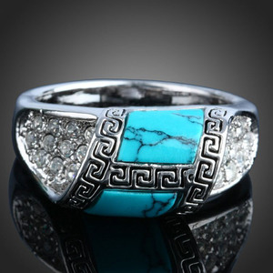 Mens turquoise with diamond ancient silver jewelry turkish rings